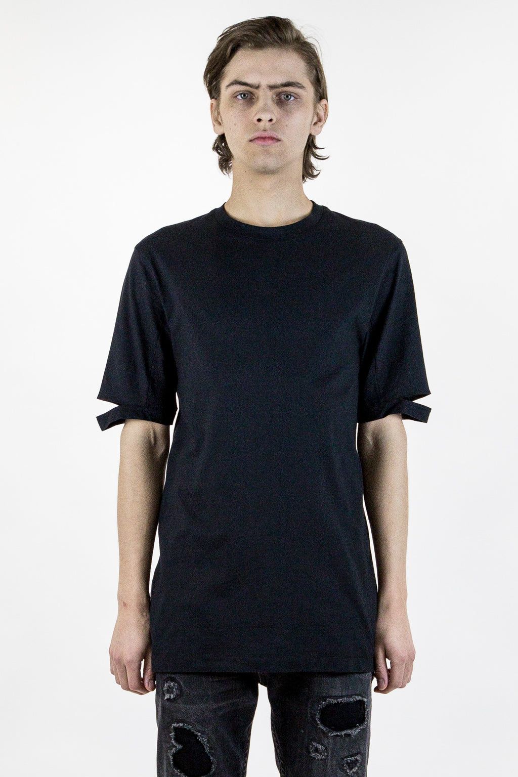 Black Slash Sleeve T-Shirt