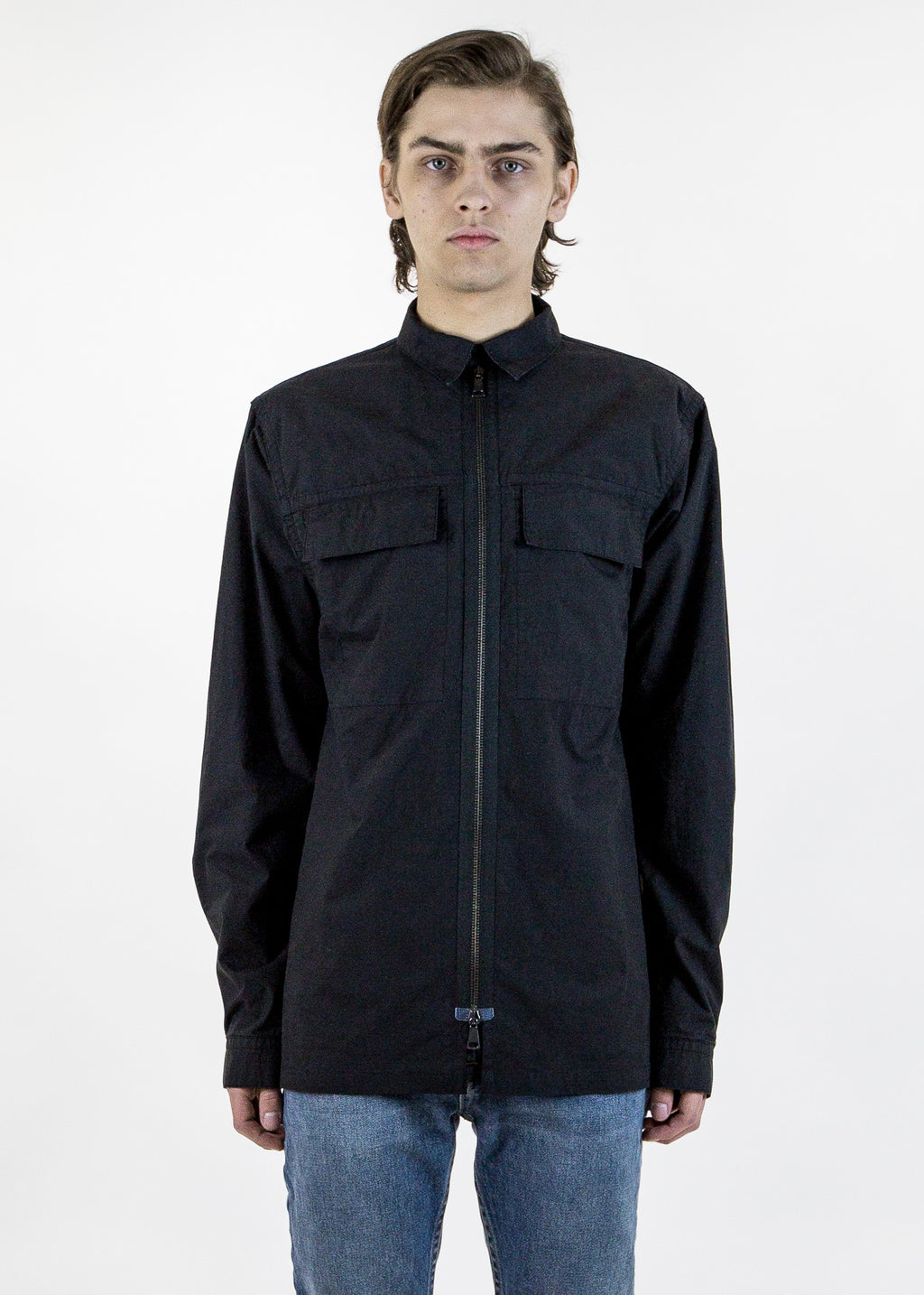 Helmut Lang, Double Cloth LS Zip Shirt, 017 Shop