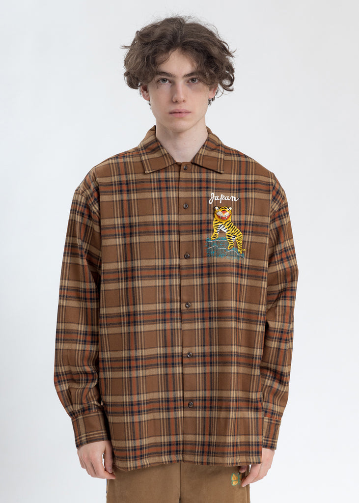 Beige Puppet Animal Embroidery Check Shirt
