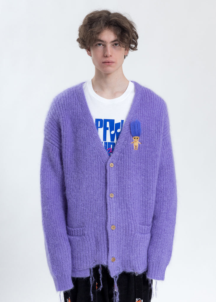 Purple Doll Embroidery Mohair Cardigan