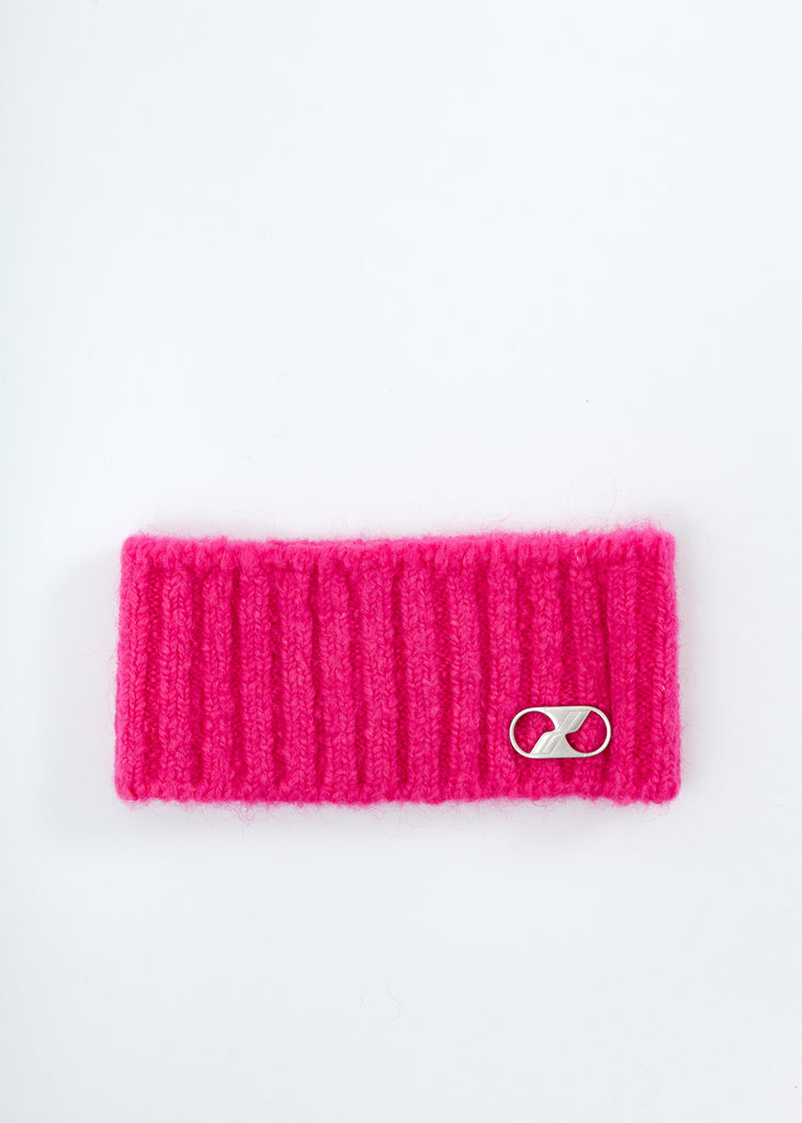 Pink Embroidered Metal Logo Hairband