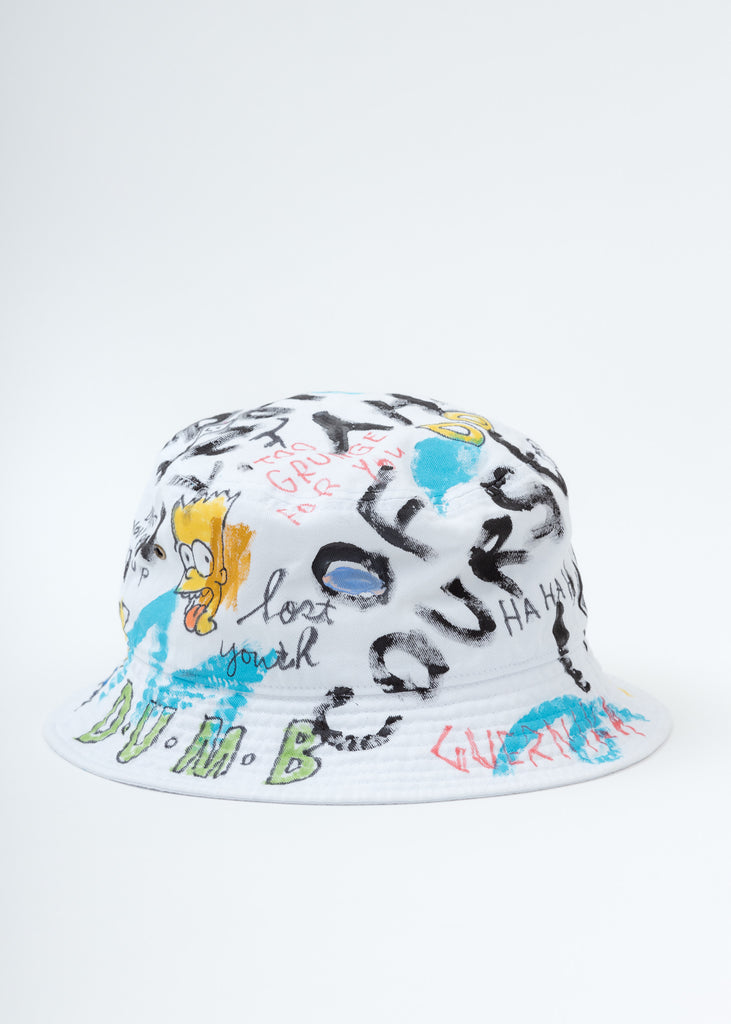 White Paint Bucket Hat