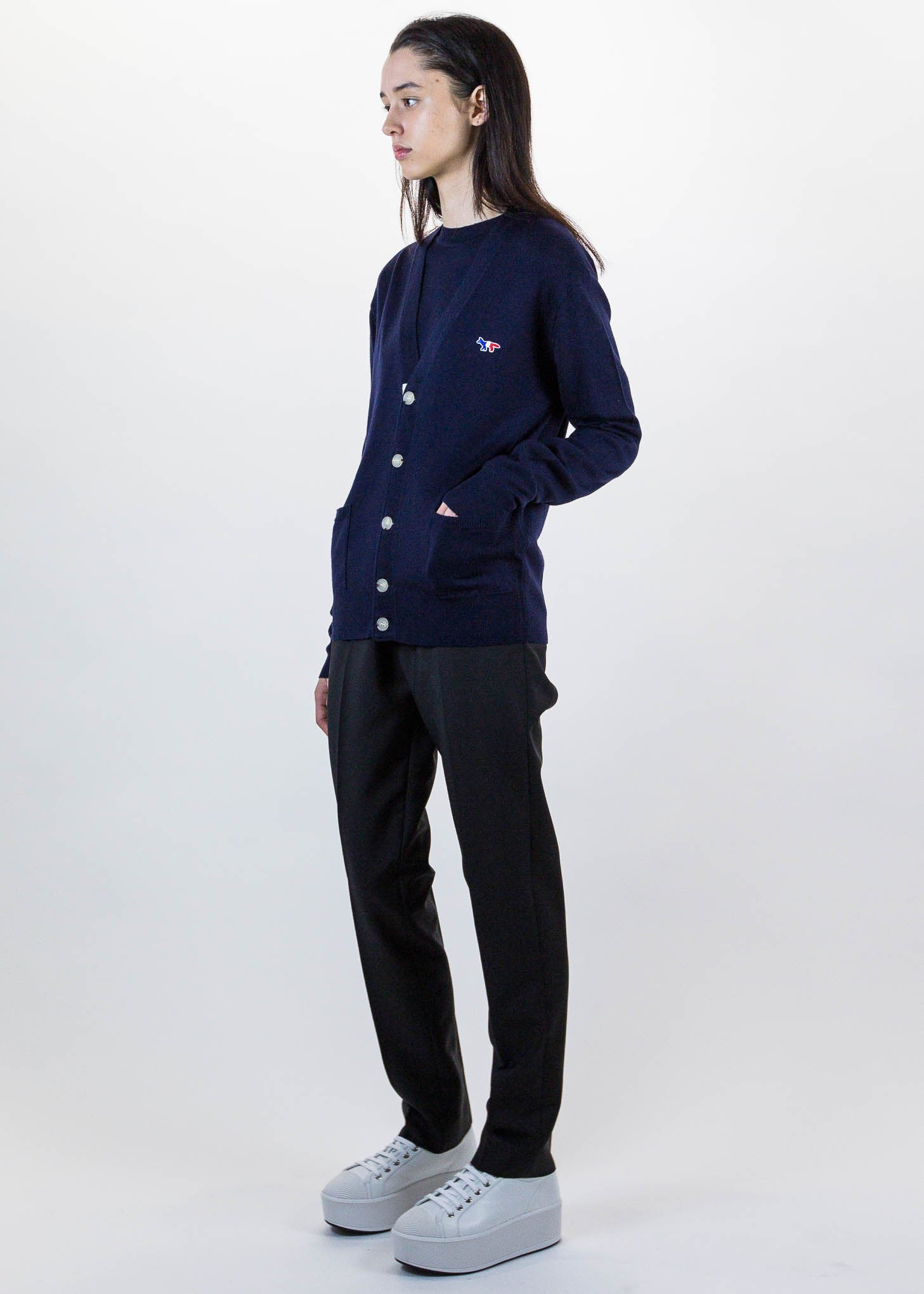 Navy Tricolor Fox Patch Cardigan