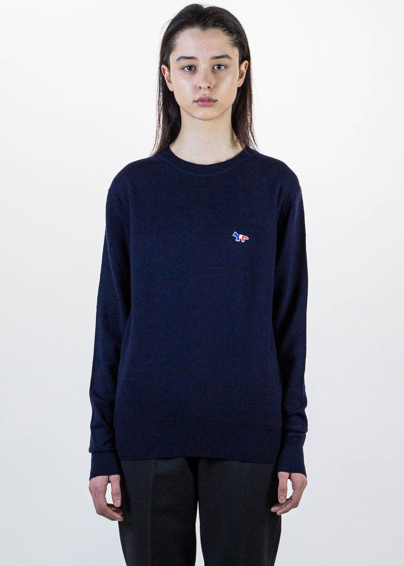 Navy Tricolor Fox Patch Knit Pullover