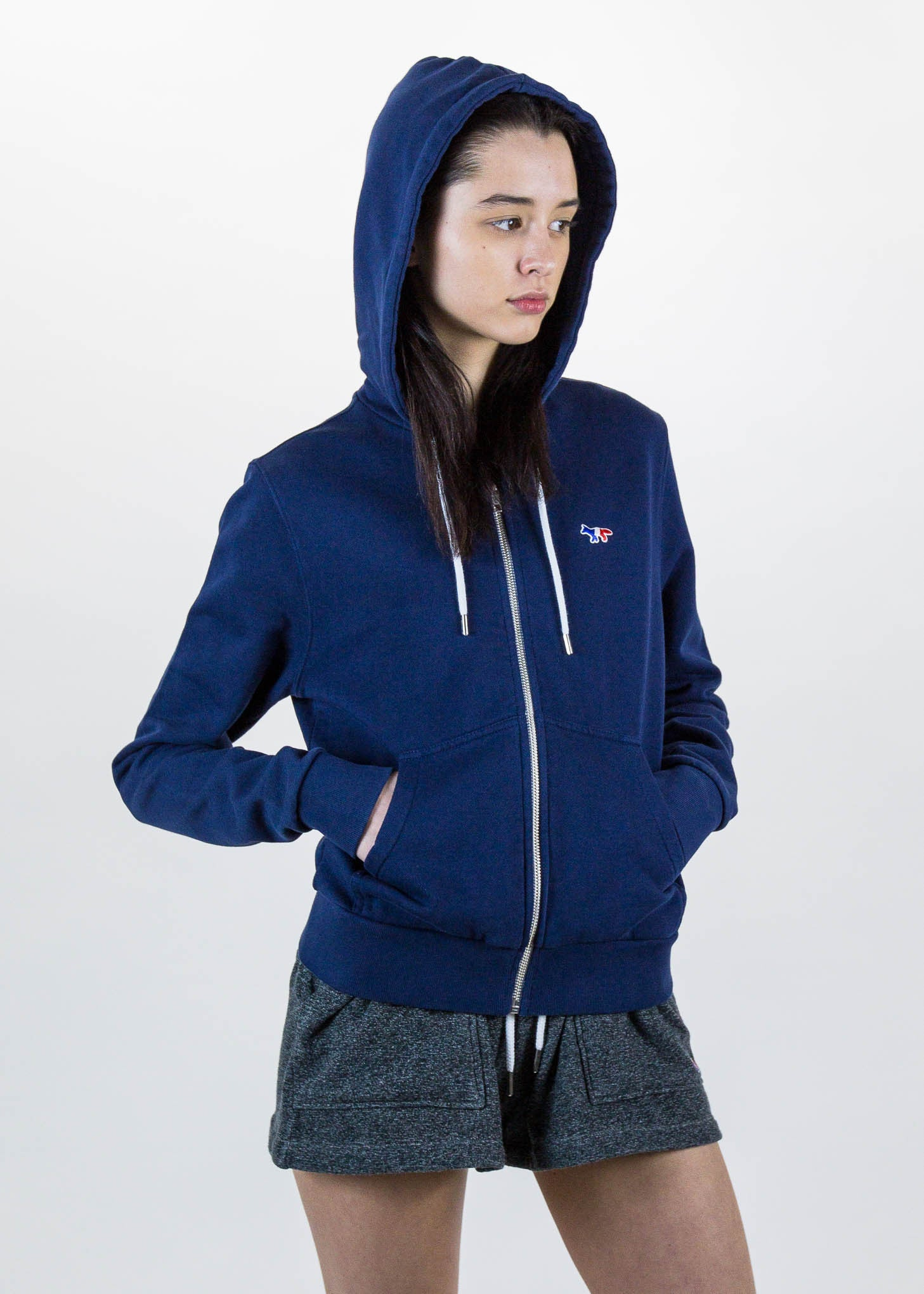Navy Zip Hoodie Tricolor Fox Patch