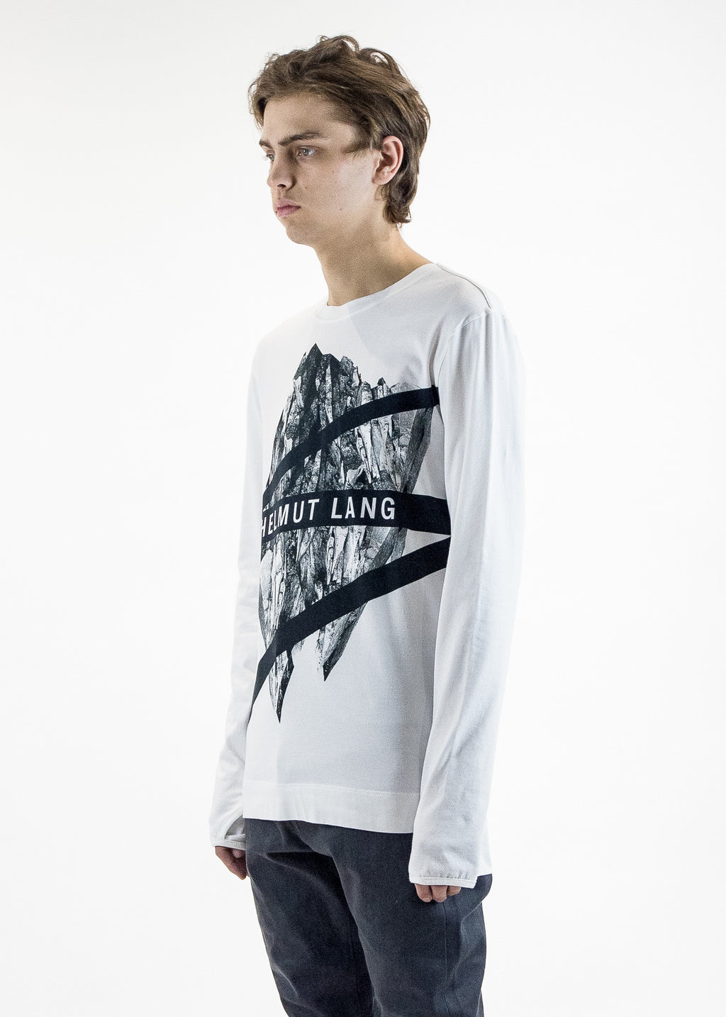 Helmut Lang Men's Long Sleeve Glacier Print Crewneck