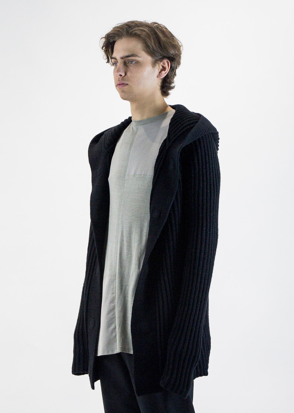 Helmut Lang Men's Heavy Wool Hooded Sweater