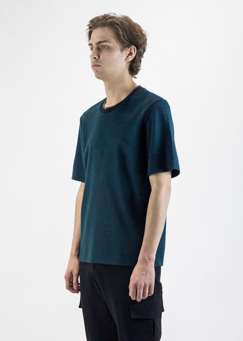 cmmn swdn mens green Miles Boxy Japanese Wool Tee