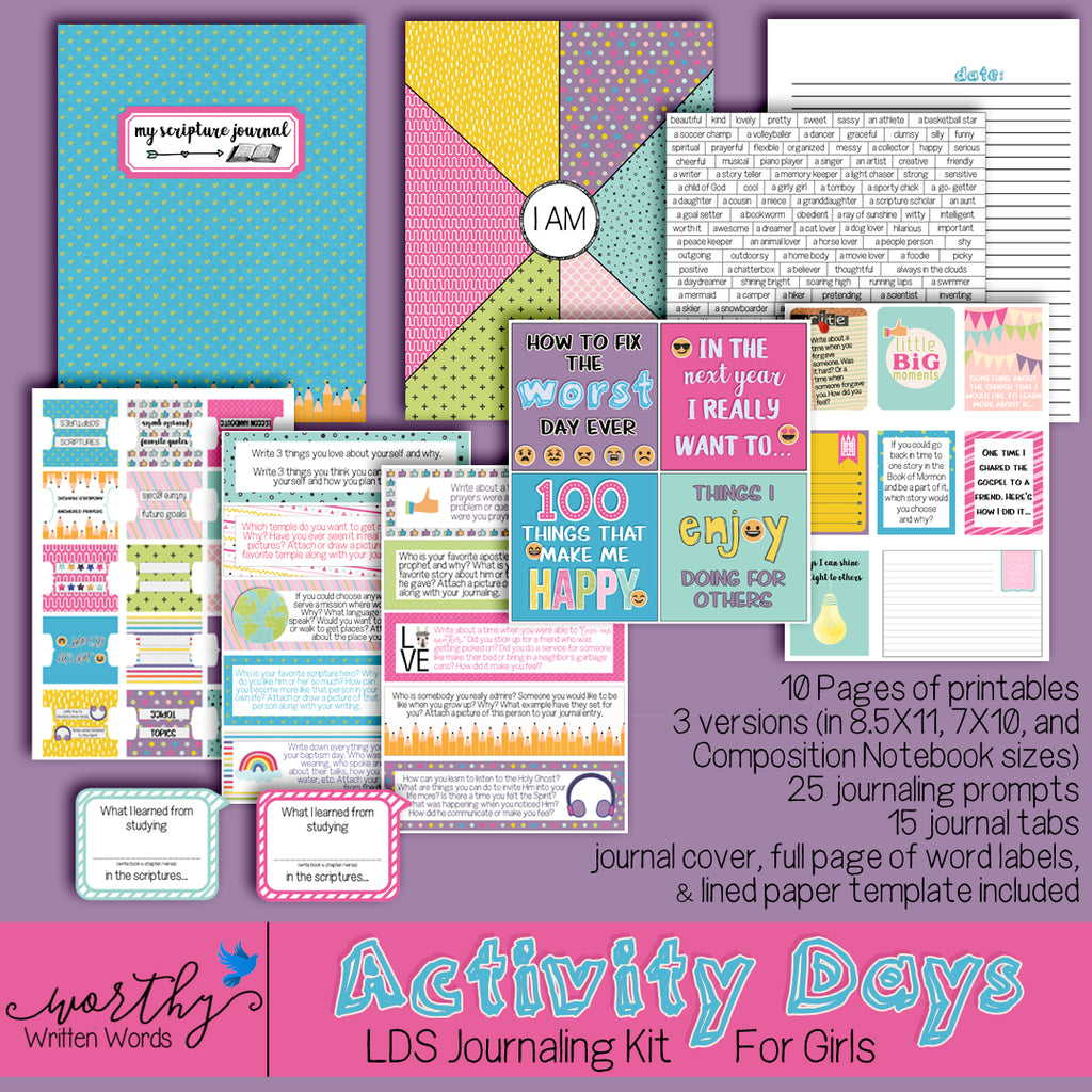 Ideas for using the Activity Day Journaling Kit