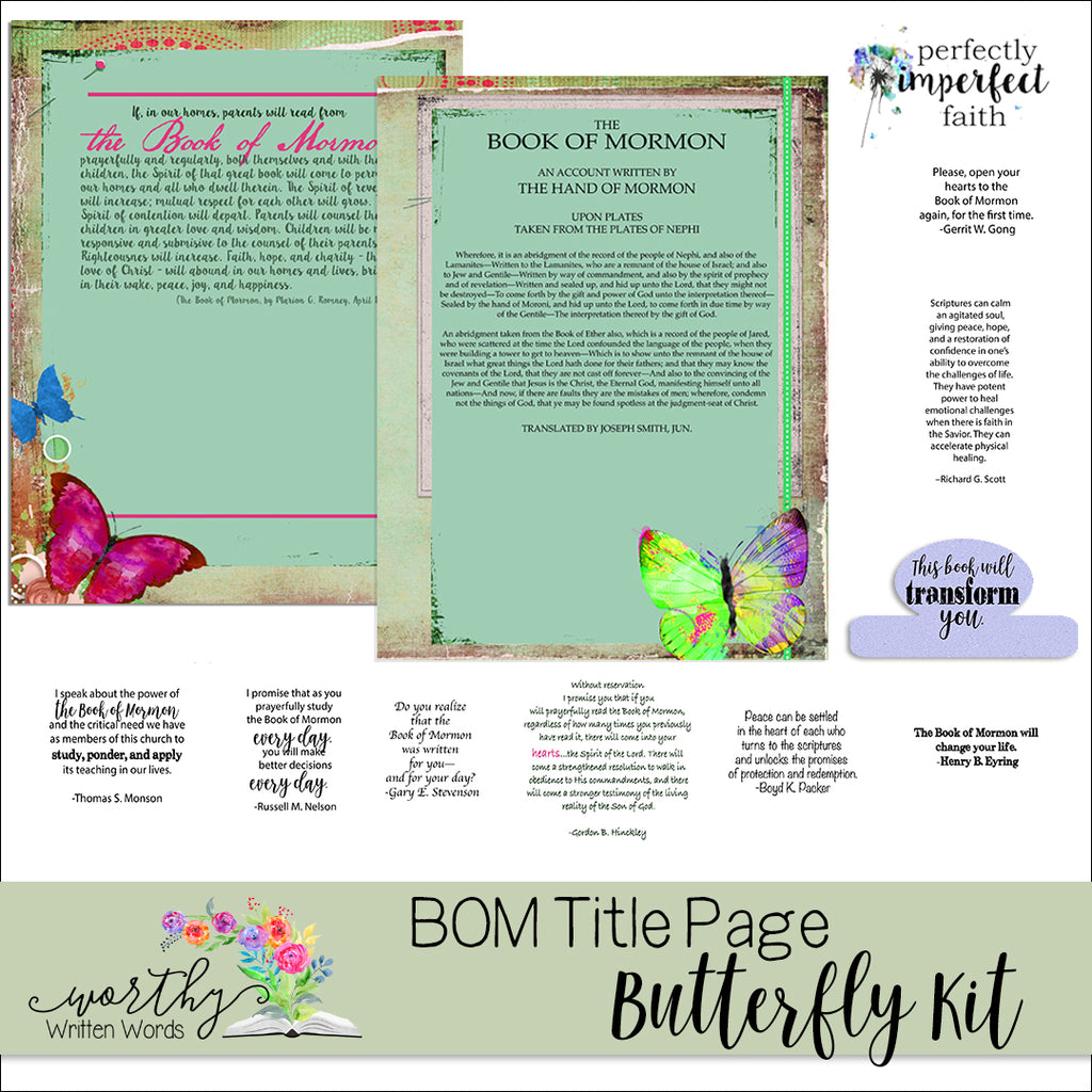 Book of Mormon Title Page Butterfly Kit