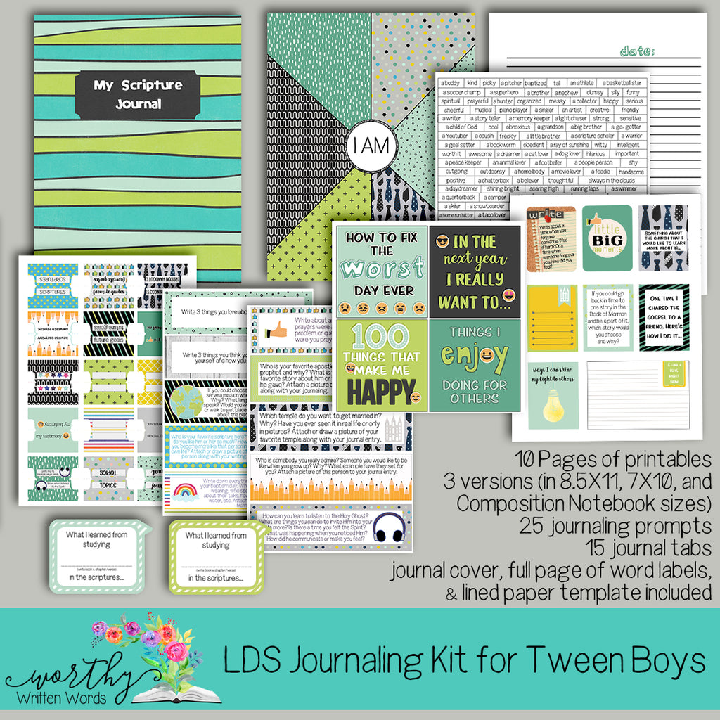 LDS Scripture Journal Kit for Tween Boys