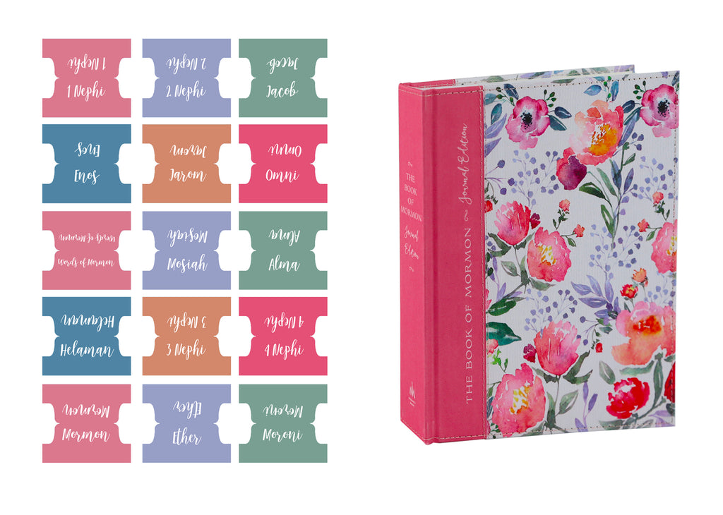 Book of Mormon Book Title Tabs: Pretty in Pink Theme