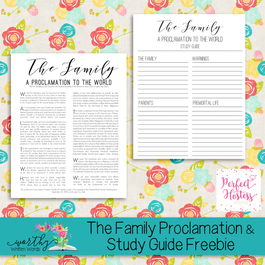 The Family Proclamation & Study Guide Freebie