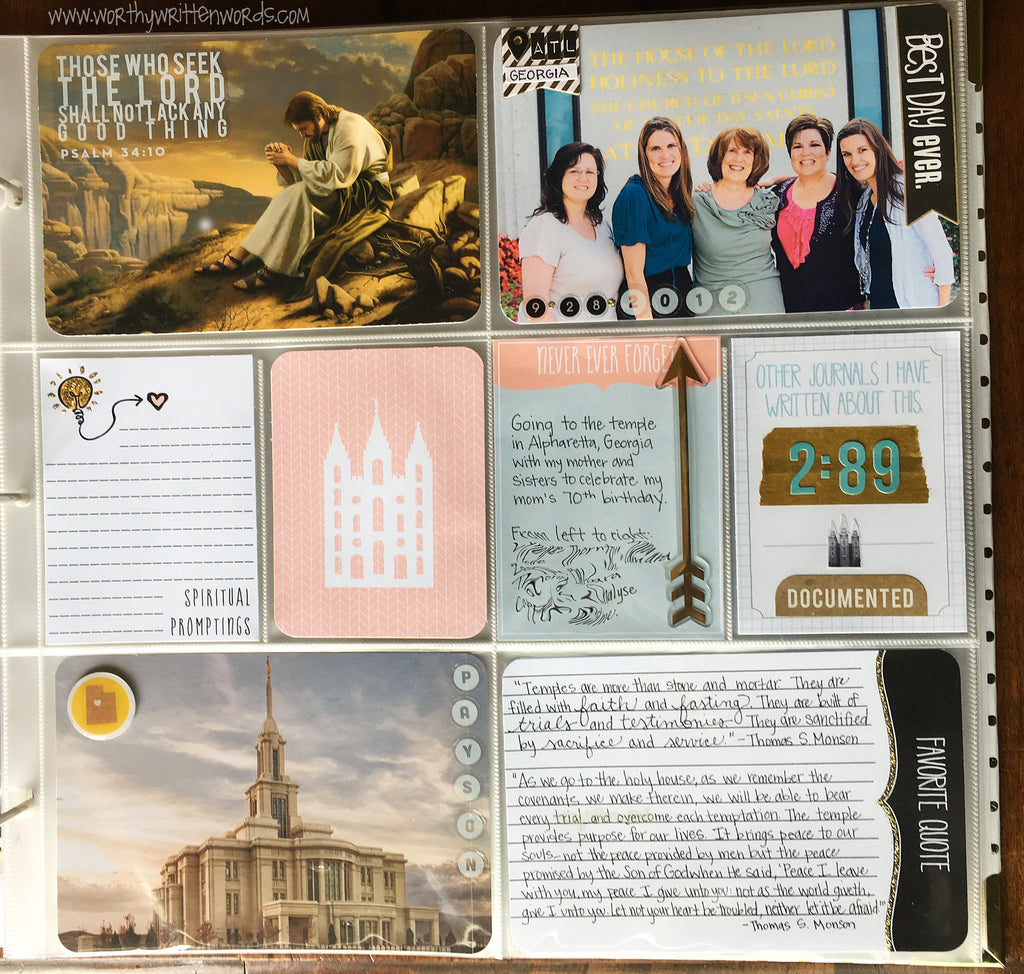 I Love to See the Temple Journal Cards - Worthy Written Words