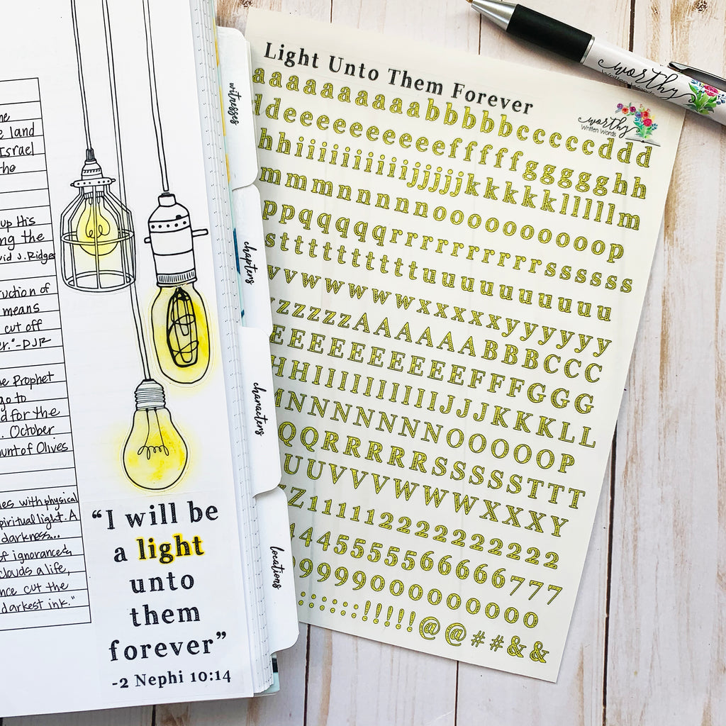 Light Unto Them Forever Alphabet Stickers