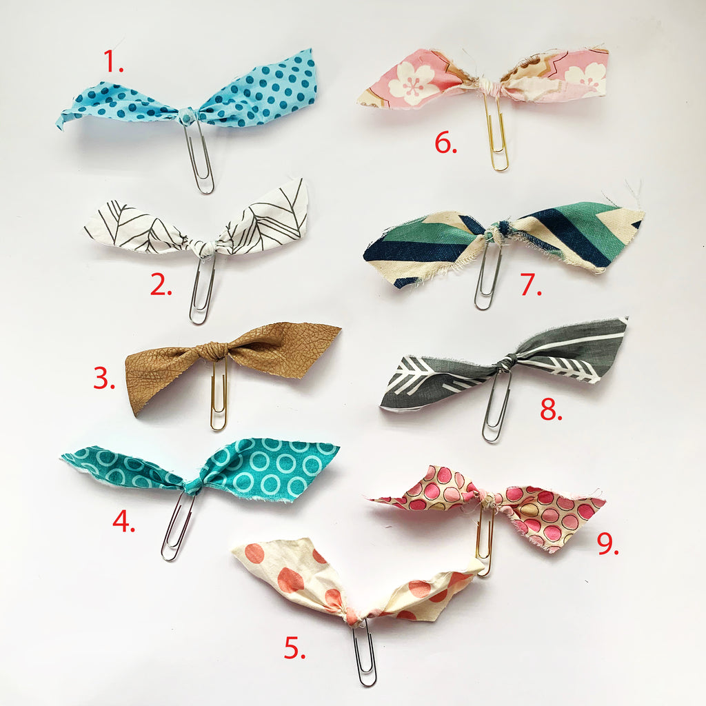 Fabric Raw Edge Horizontal Paperclip Bookmarks
