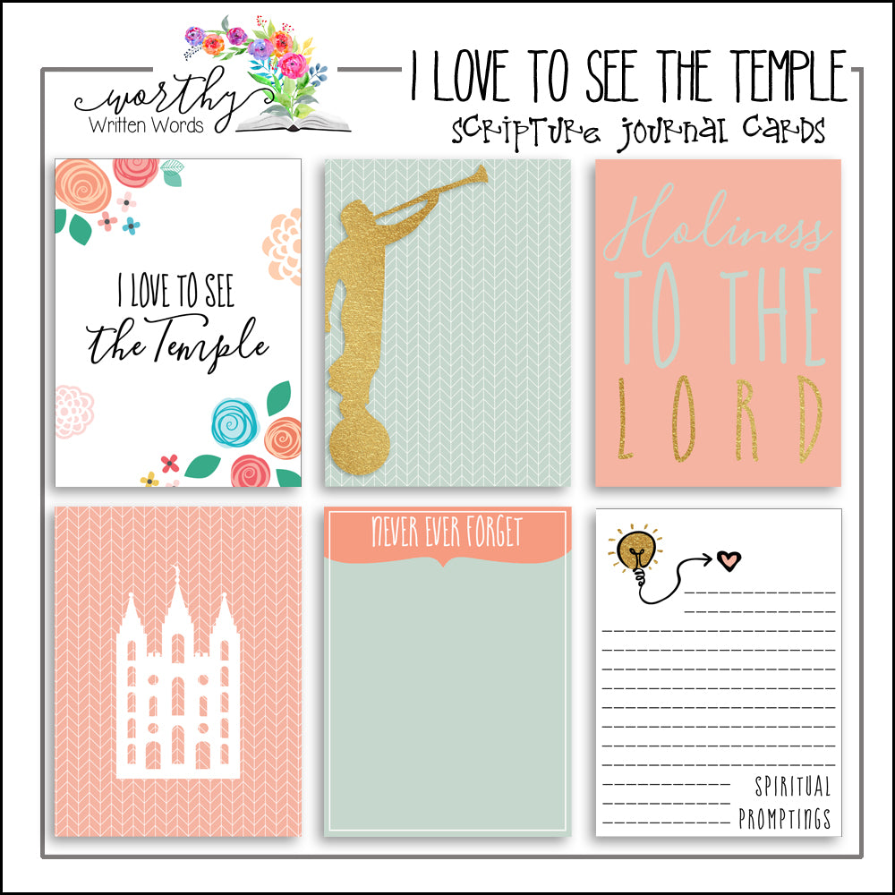 I Love to See the Temple Journal Cards