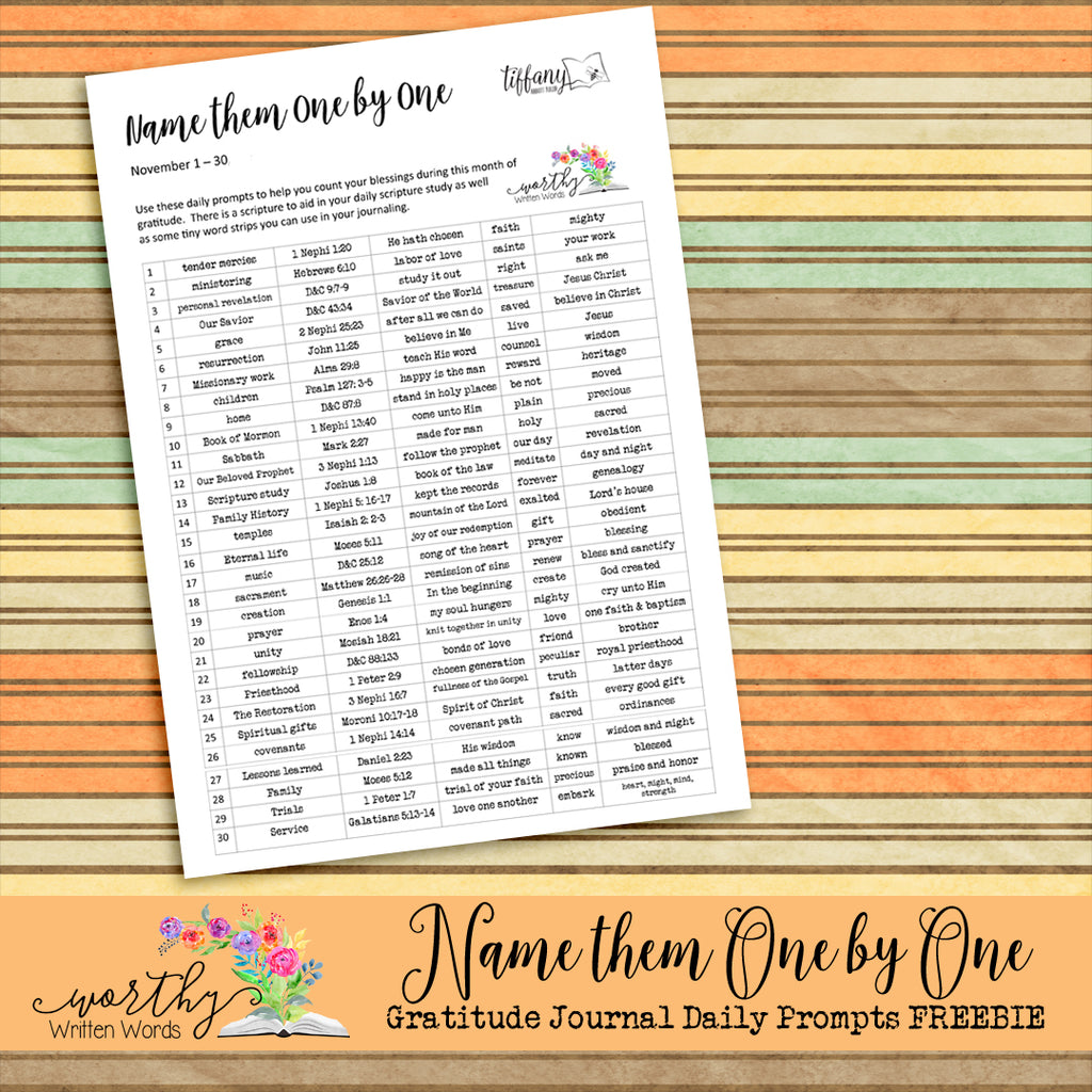 Name Them One By One- Gratitude Journal Prompts FREEBIE
