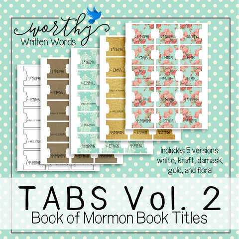 Tabs Volume 2- Book of Mormon Book Titles