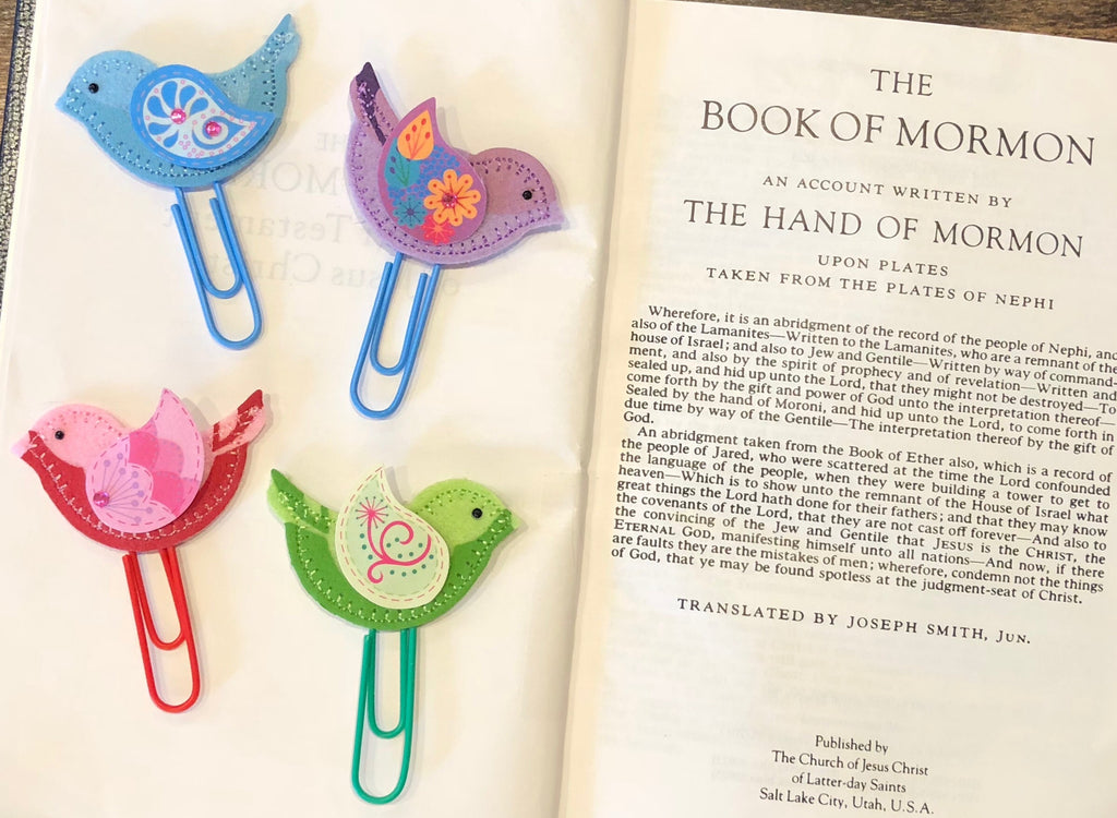Felted Bird Paperclip Bookmark