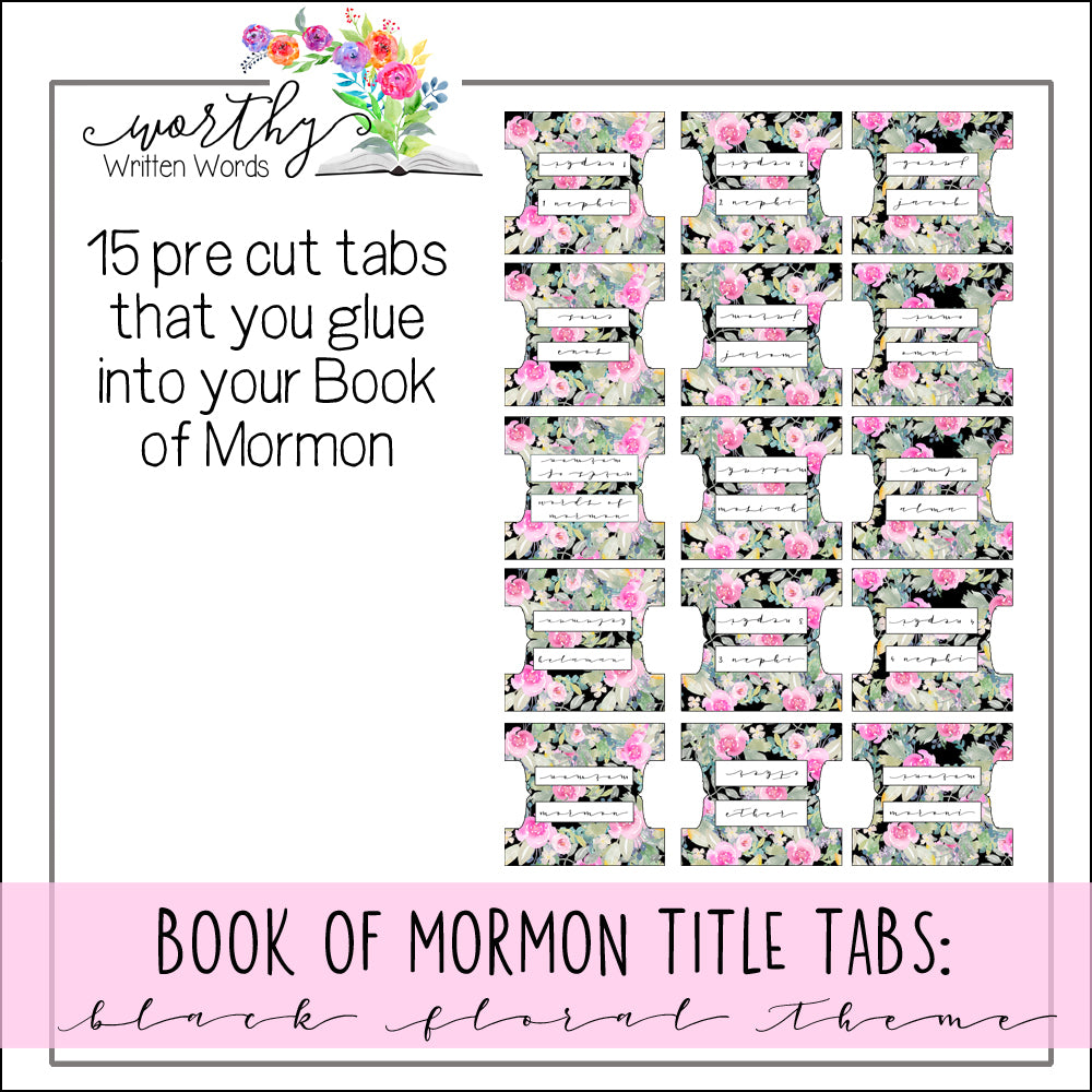 Book of Mormon Book Title Tabs: Black Floral Theme PreCut
