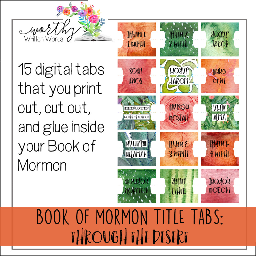 Book of Mormon Book Title Tabs: Through the Desert Theme