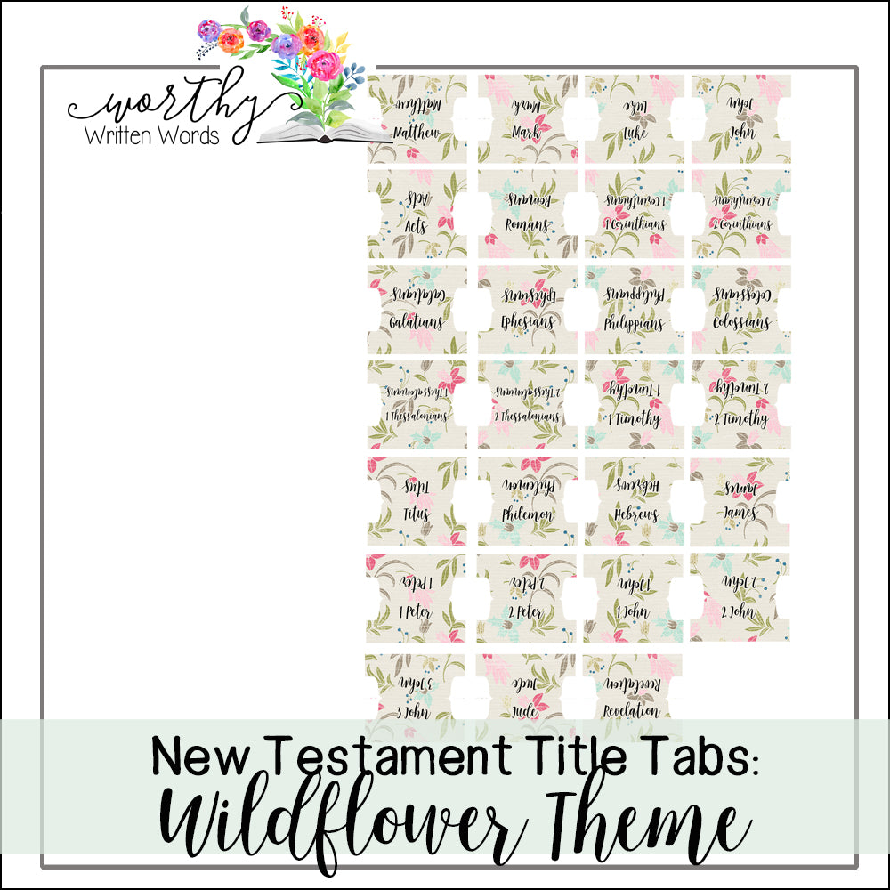 New Testament Book Title Tabs: Wildflower Theme