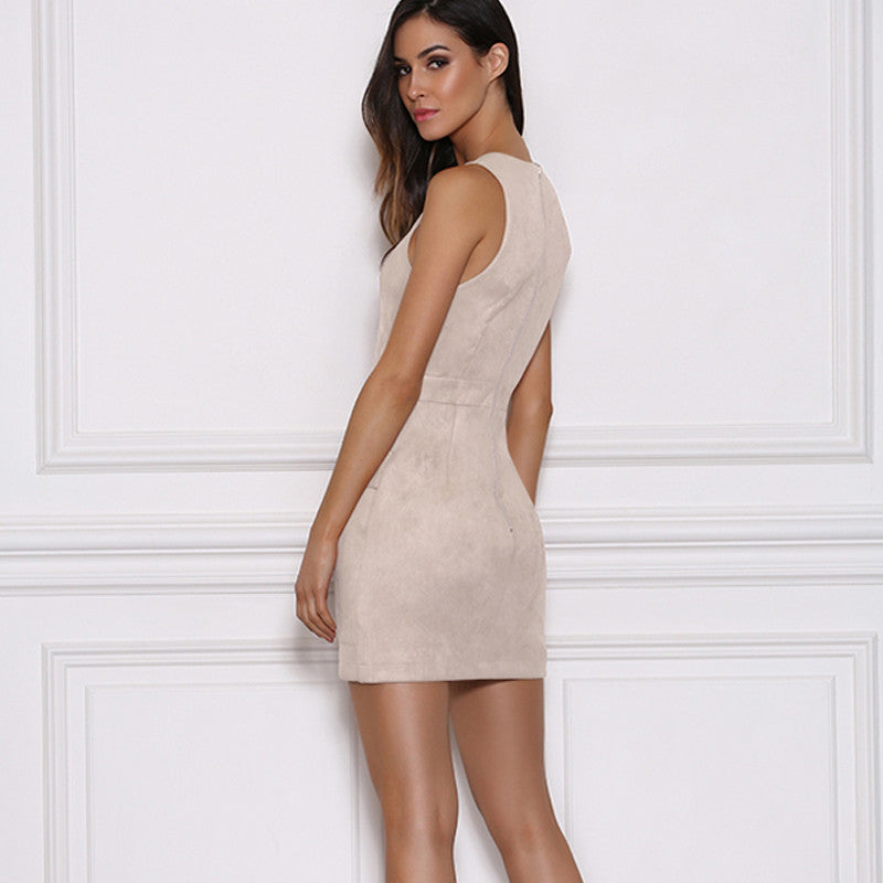 ea483e4fde67 ... Glam By Carla White Suede Mini Lace-up front dress
