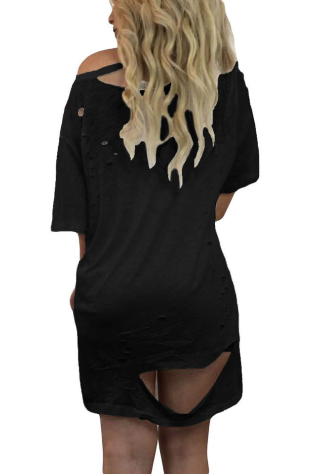 4aee7e26f6 ... Glam By Carla Black Ripped Destroy Rose Embroidery T-shirt Dress