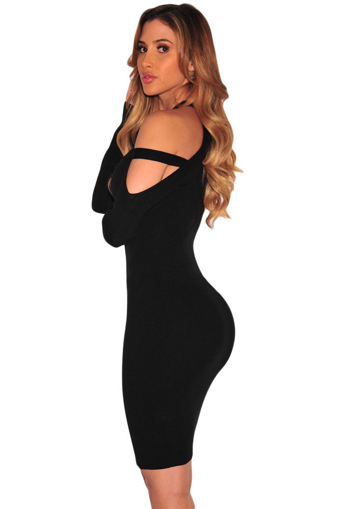 Glam By Carla Black Strappy Cold Shoulder Long Sleeve Mini Dress ...