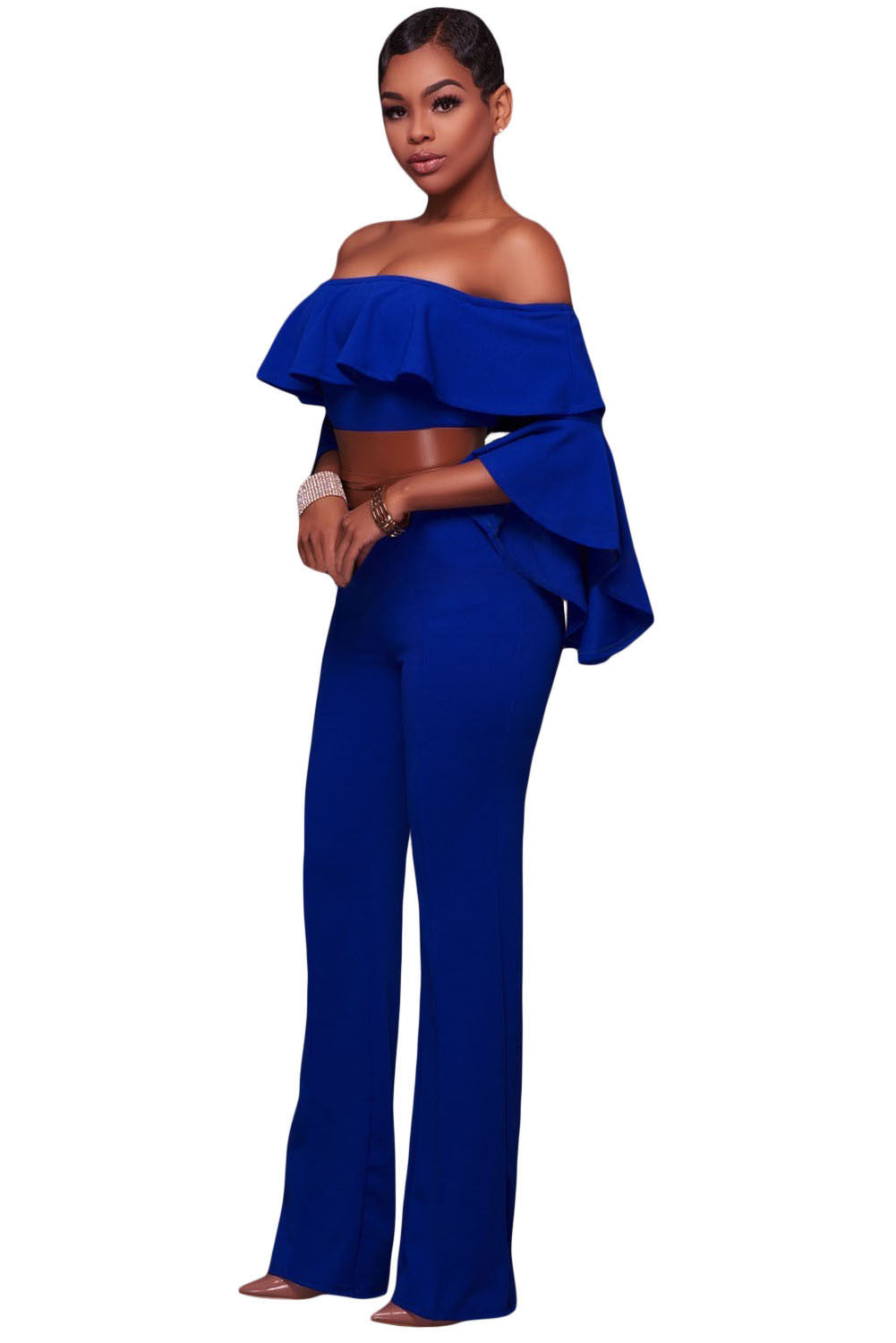 0b5033ce211f Glam By Carla Blue Ruffle Off-the-shoulder Belted Jumpsuit
