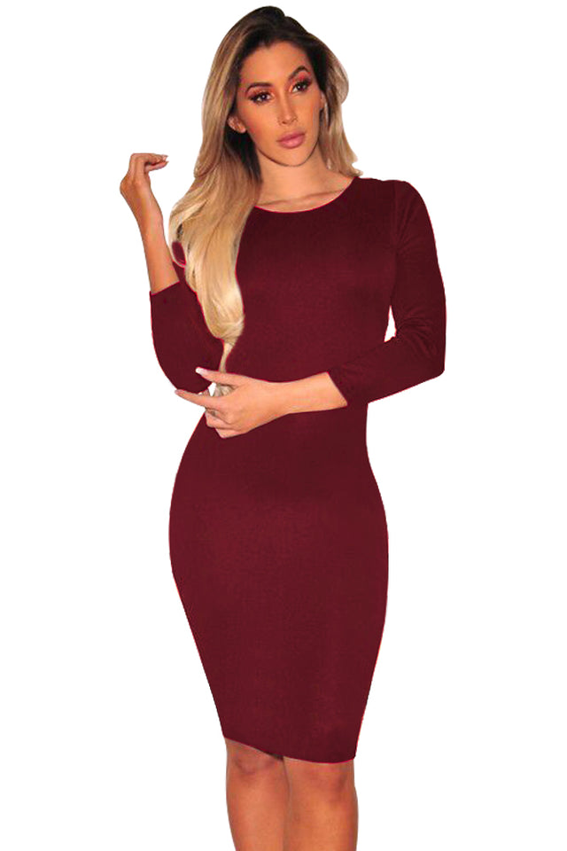 a44c2d32798 ... Glam by Carla Burgundy Hollow-out Back Long Sleeve Bodycon Dress