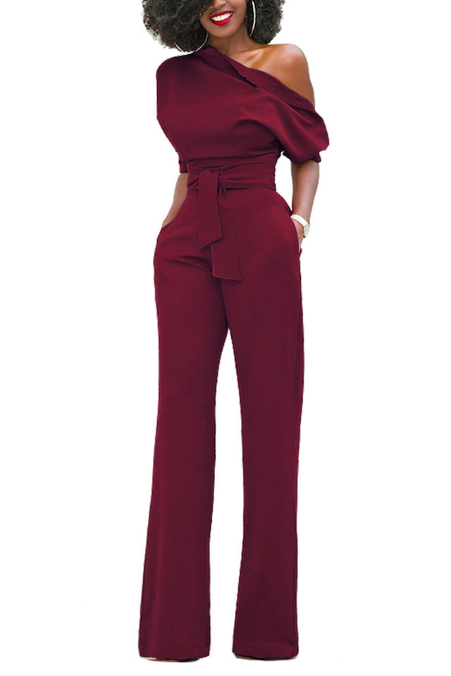 c7d550af02bb ... White Embroidery Ruffle Top Off Shoulder Jumpsuit.  66.70 USD. Glam by  Carla Burgundy Slanted One Shoulder Wide Leg Jumpsuit ...