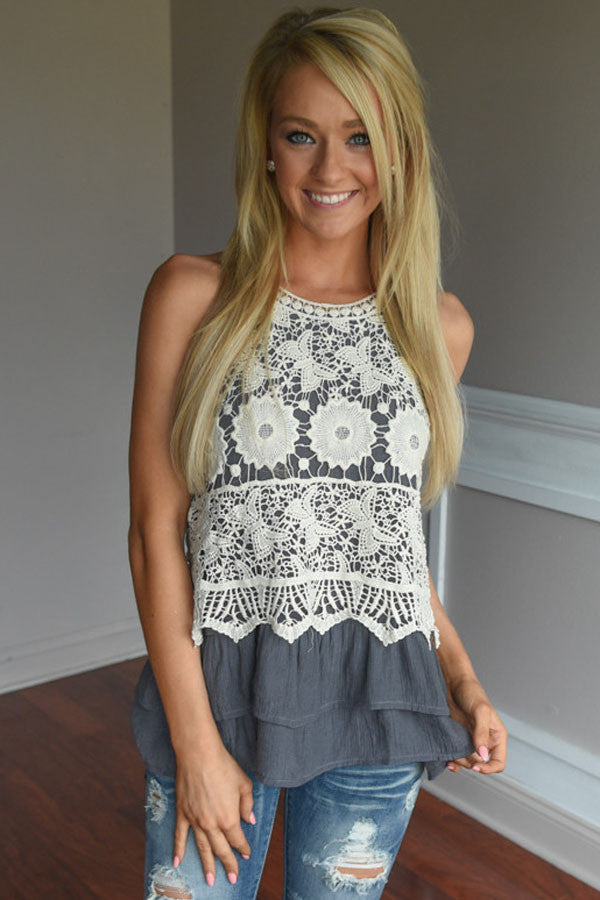 6ce015b8c2d2e Glam By Carla Floral Lace Crochet Grey Ruffle Layered Tank Top