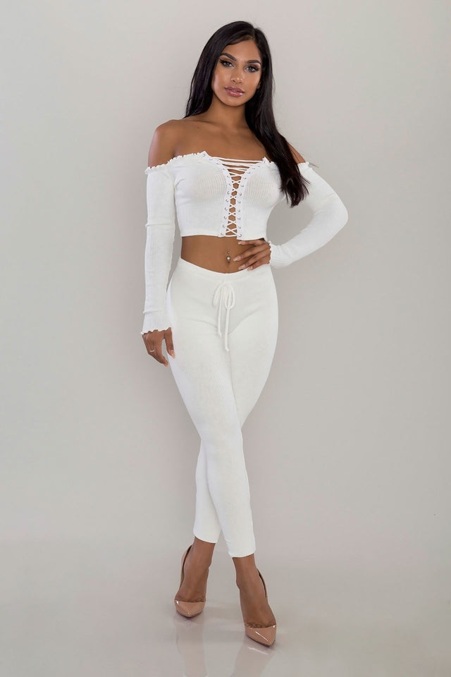 5811215a839d ... Glam by Carla White Ribbed Two Piece Leggings Set