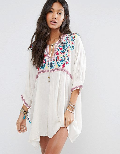 Glam by Carla White Loose Fitting Embroidered Beach Tunic ... 576882d16