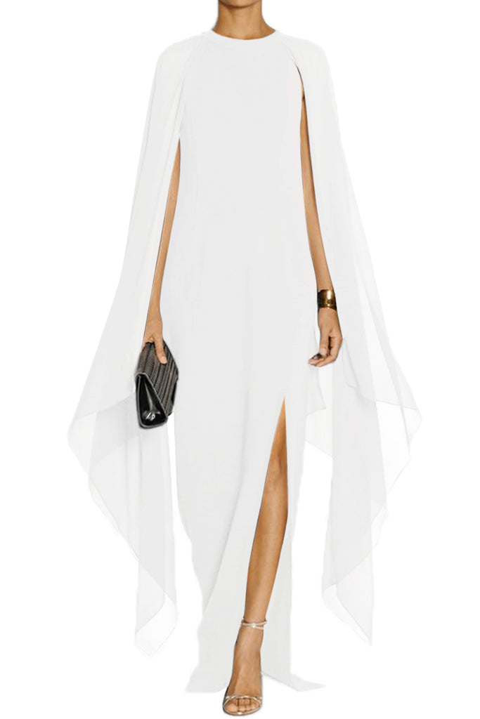 75655a83487 Glam by Carla White Cape Flared Sleeve Bodycon Maxi Dress