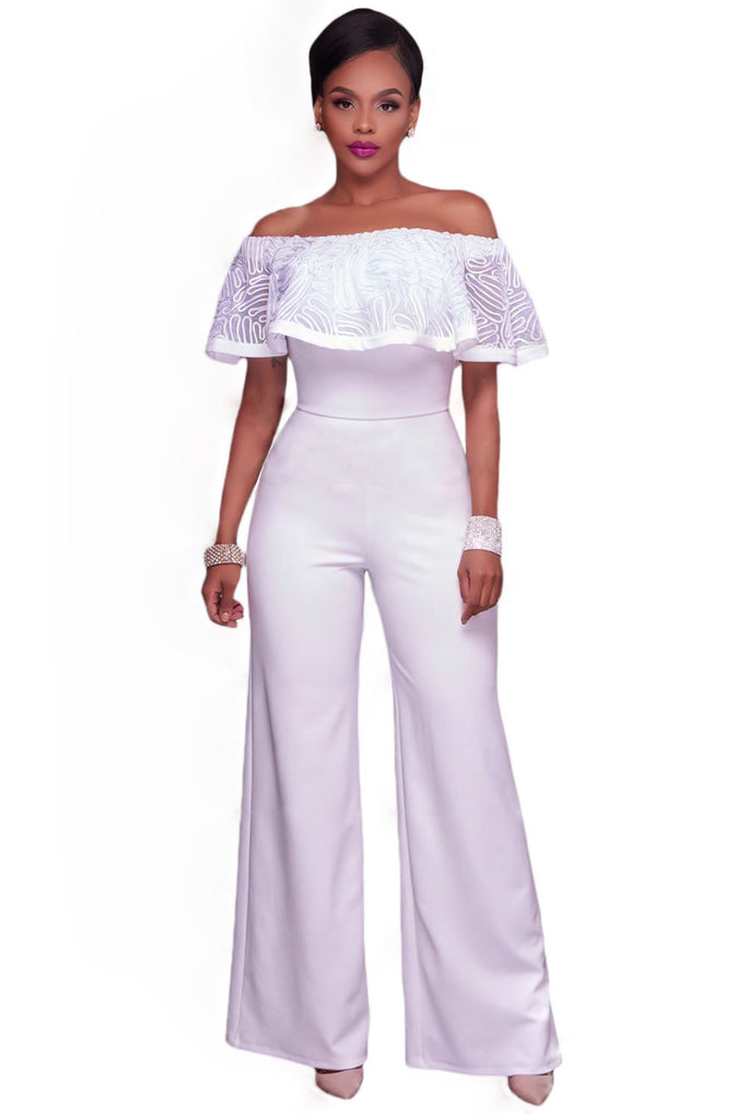 3f37a3a59398 Glam by Carla White Embroidery Ruffle Top Off Shoulder Jumpsuit