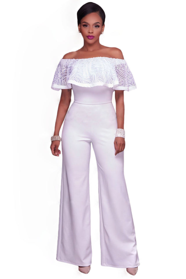 8a5708dc150 Glam by Carla White Embroidery Ruffle Top Off Shoulder Jumpsuit ...