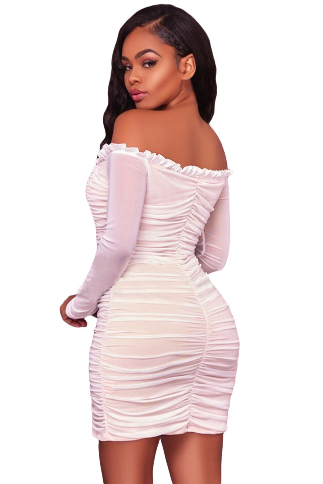 c590d9cc821 ... Glam by Carla White Mesh Ruched Off Shoulder Mini Dress