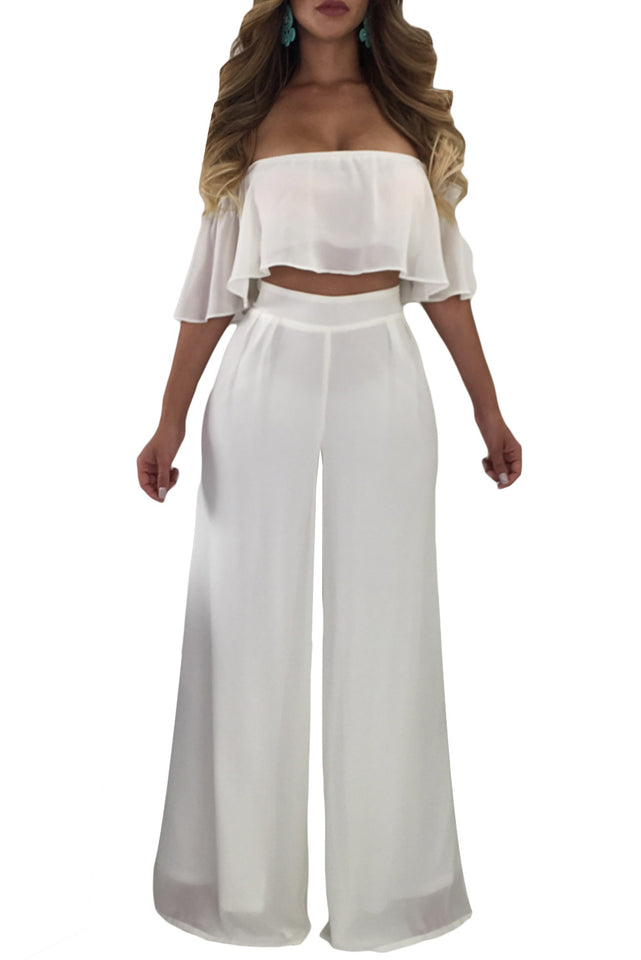 6cf1f4dddf9 Glam by Carla White Ruffle Crop Top   Wide Leg Pants ...