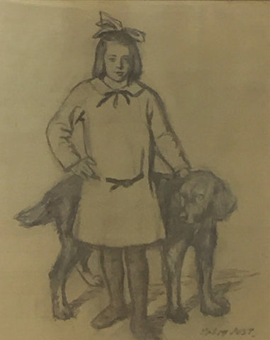 Ottilie Palm Jost- Walfriede with hound- Earls Court Gallery