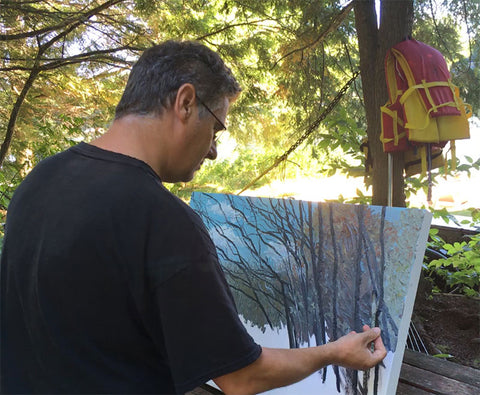 Gummerson painting on location