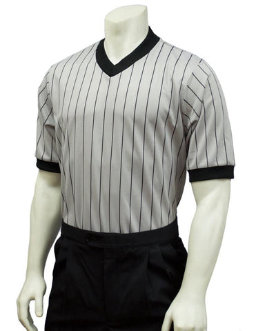 BKS205 (SM268) - Smitty Grey Performance Mesh V-Neck Shirt w/ Black Pinstripes