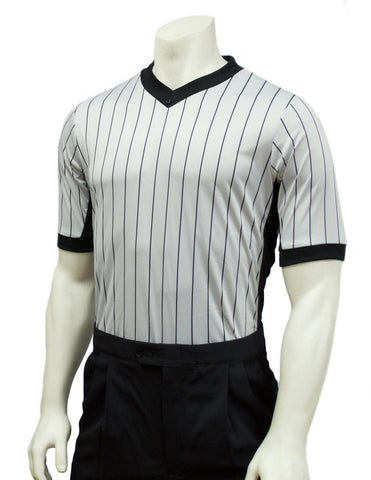 BKS206 (SM268) - Smitty Grey Elite Performance Interlock V-Neck Shirt w/ Black Pinstripe and Side Panel