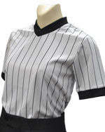 BKS215 Women's V-Neck Performance Mesh Shirt-- Grey w/ Black Pin Stripes