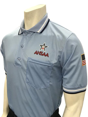 "USA300AL - 30035 -  Smitty ""Made in USA"" - Dye Sub Alabama Baseball Short Sleeve Shirt - Powder Blue"