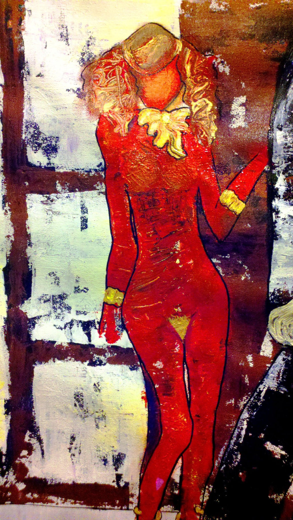 Detail of woman figure in I'm Over Here by Penelope Przekop