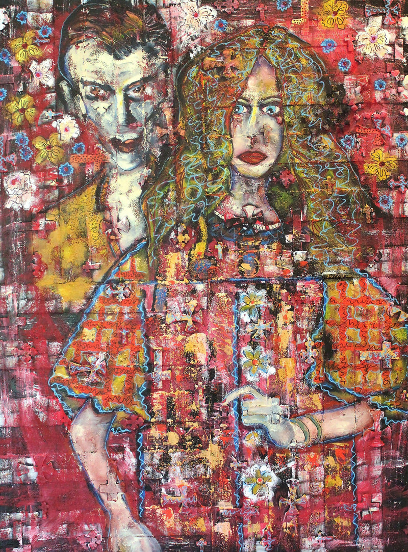 Original haunting painting of a man and woman.