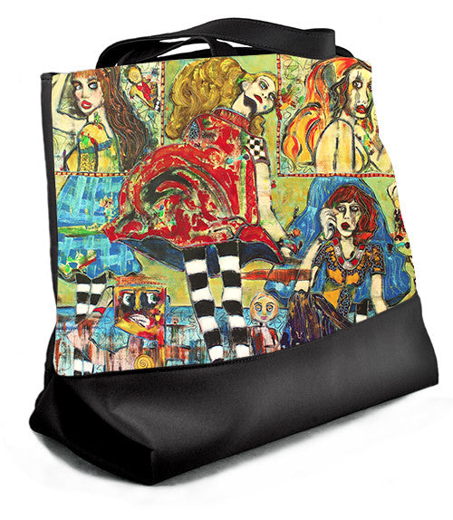 Large tote with zipper featuring painting, Life is But a Stage